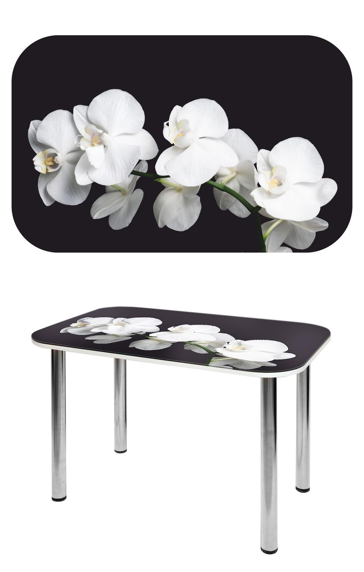 Прямоугольный стеклянный стол с белыми цветами СО-Д-02-9