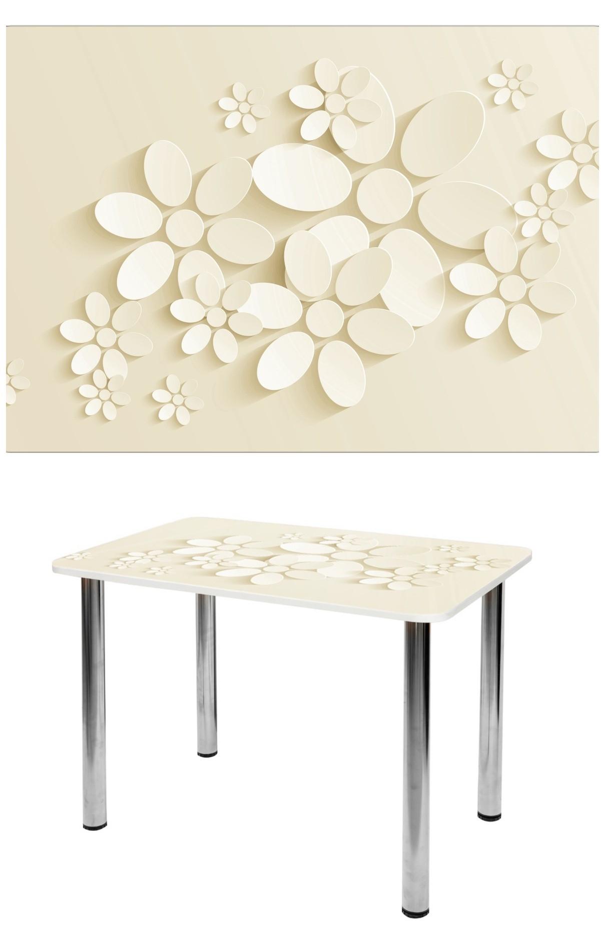 Прямоугольный стеклянный стол молочного цвета с цветами СО-Д-01-20