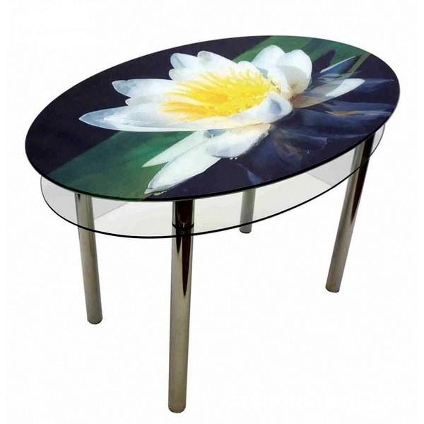 Овальный стеклянный стол №15 «Лилия»