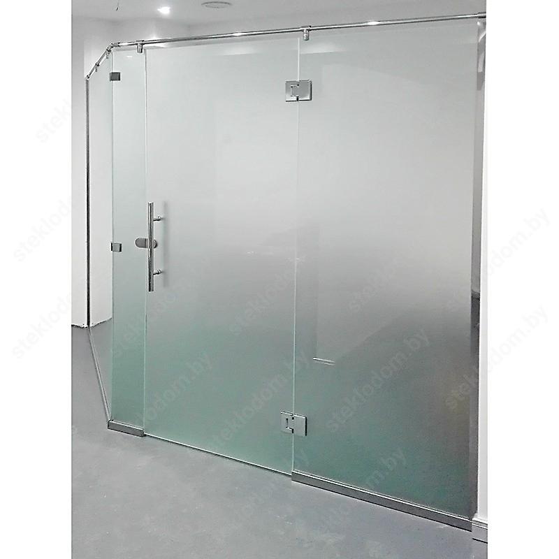 Стеклянная перегородка с распашной дверью PWD-12