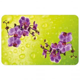 Зеленая столешница из стекла с изображением фиолетовых цветов СО-Д-01-10
