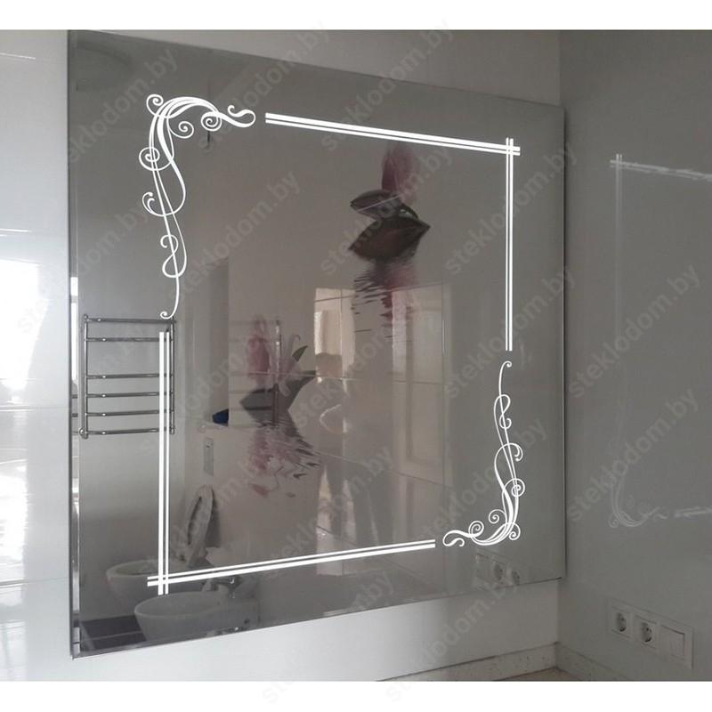Зеркало с полировкой и пескоструйным рисунком BM-15