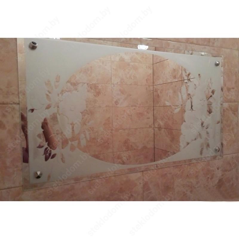 Зеркало с полировкой и пескоструйным рисунком BM-16
