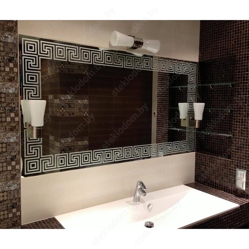 Зеркало с полировкой и пескоструйным рисунком BM-17
