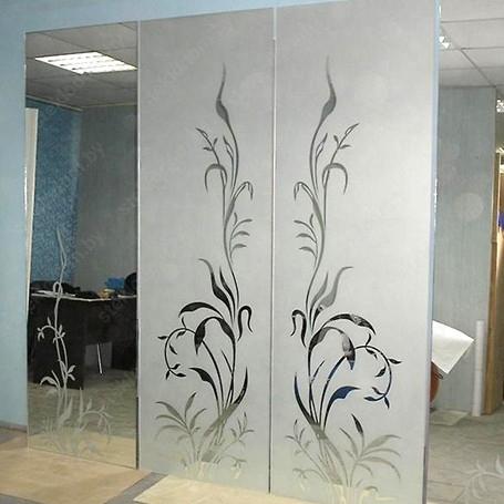 Зеркало с полировкой, пескоструйным рисунком НM-19