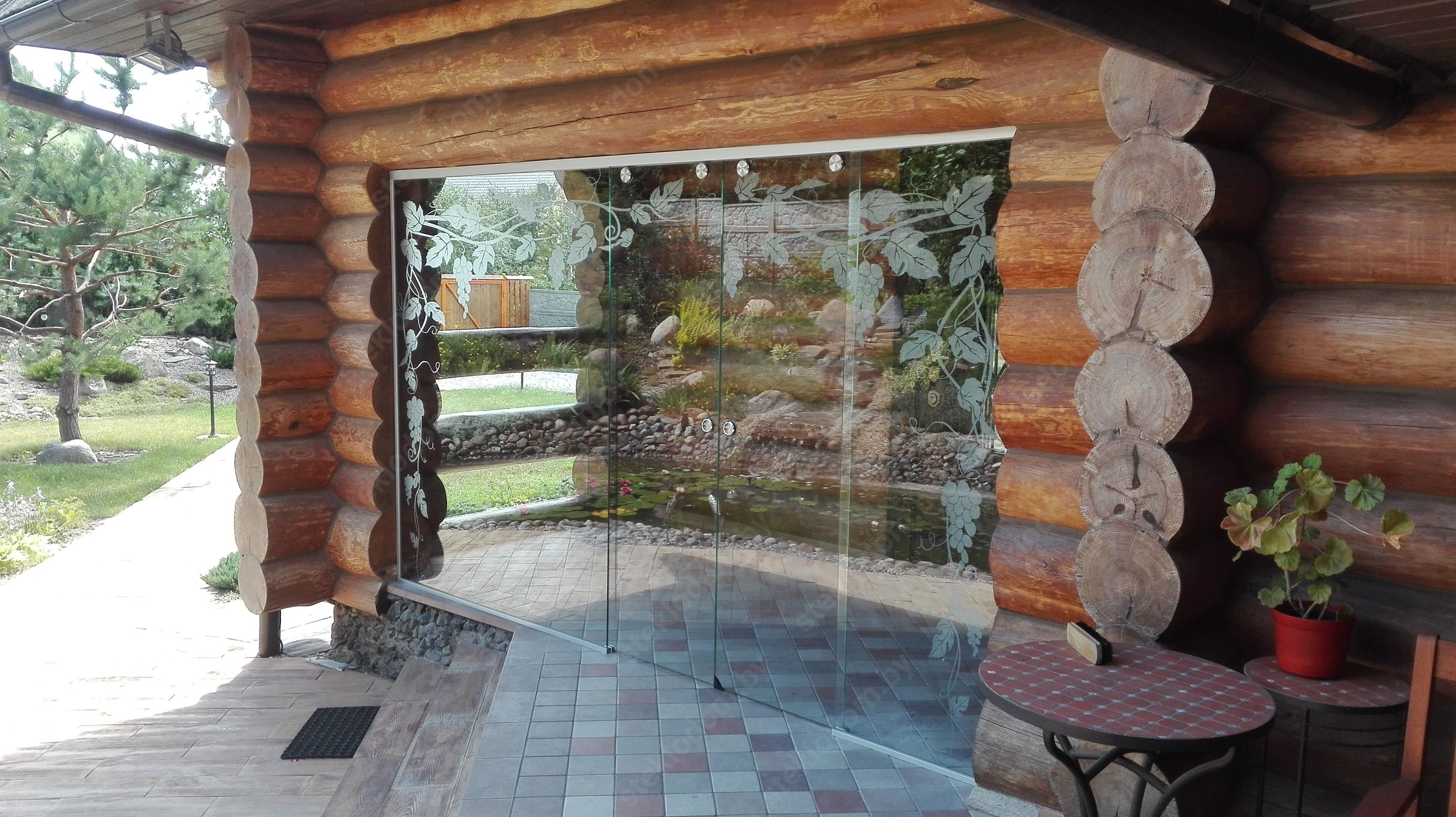 Стеклянная перегородка с откатными дверями PWD-20